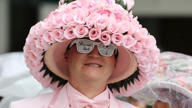 May 5, 2017; Louisville, KY, USA; A patron wears a derby hat before the 2017 Kentucky Oaks at Churchill Downs. Mandatory Credit: Mark Zerof-USA TODAY Sports - 10043032