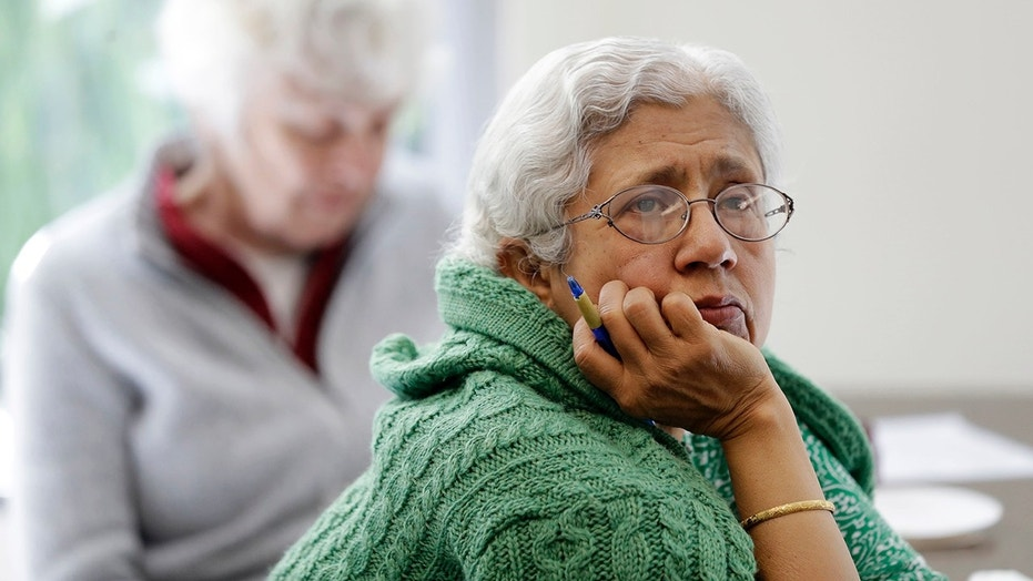 Sara Dhamija, right, listens to a teacher during an anti-bullying class at the 30th Street Senior Center in San Francisco, April 13, 2018.