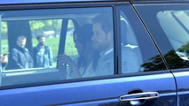WINDSOR, UNITED KINGDOM - MAY 17: (EMBARGOED FOR PUBLICATION IN UK NEWSPAPERS UNTIL 24 HOURS AFTER CREATE DATE AND TIME / GERMANY-OUT) Prince Harry and Meghan Markle arrive for wedding rehearsals ahead of their wedding on Saturday on May 17 in Windsor, England. (Photo by Karwai Tang/WireImage)