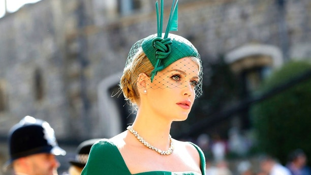 Lady Kitty Spencer arrives for the wedding ceremony of Prince Harry and Meghan Markle at St. George's Chapel in Windsor Castle in Windsor, near London, England, Saturday, May 19, 2018. (Gareth Fuller/pool photo via AP)