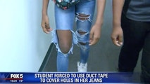 Student forced to cover holes