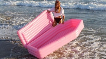 coffin-shaped pool float