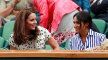 Kate, Duchess of Cambridge and Meghan, Duchess of Sussex, right, sit in the Royal Box on Centre Court ahead of the women's singles final match between Serena Williams of the US and Angelique Kerber of Germany at the Wimbledon Tennis Championships, in London, Saturday July 14, 2018. (Andrew Couldridge, Pool via AP)
