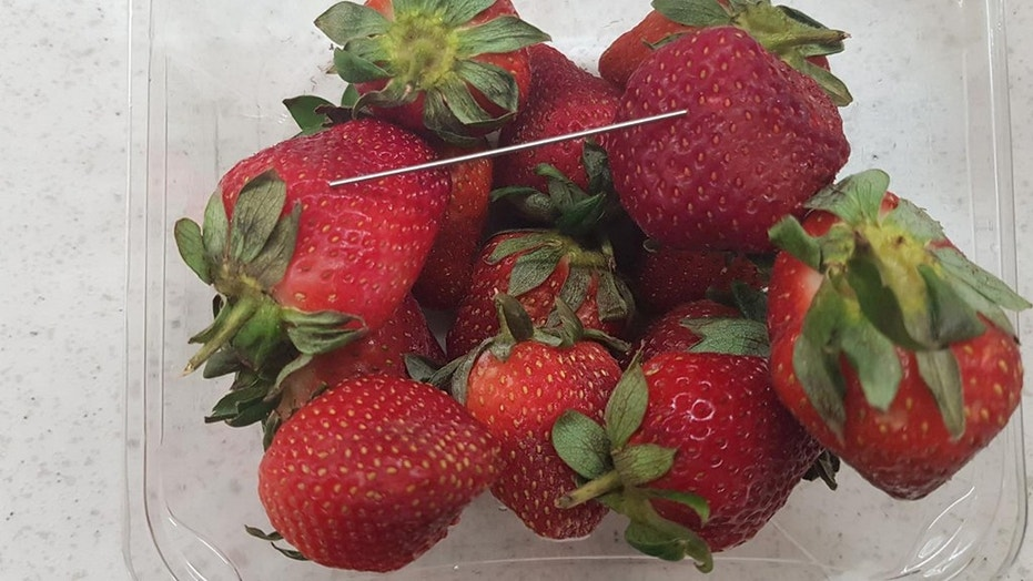 "Queensland police in Australia issued a photo of a batch of ""contaminated strawberries"" in connection to what they said they believe is a ""copycat incident."""
