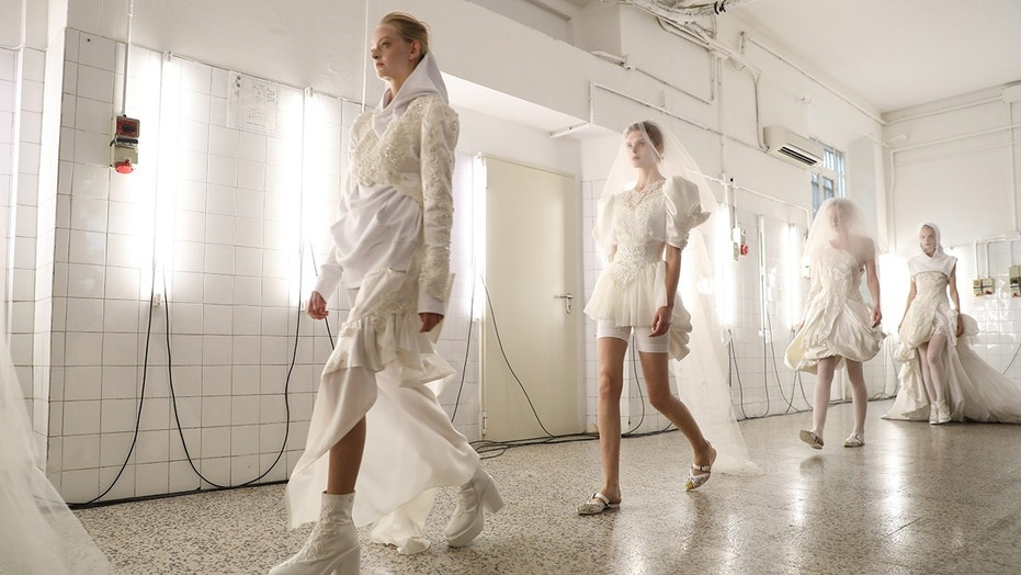 A.F. Vandevorst's show showcased several gym-ready wedding looks.
