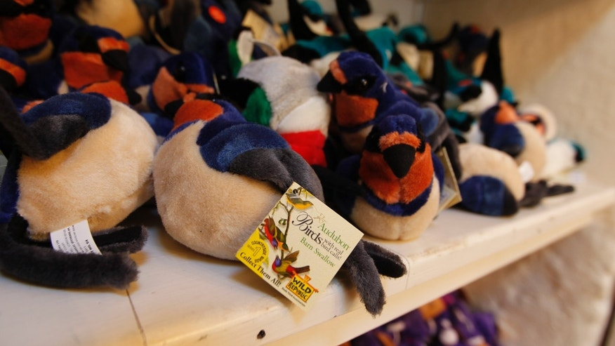 Toy swallows are for sale at mission in San Juan Capistrano, Calif., Thursday, April 26, 2012. For most of its 230-year history, the Mission at San Juan Capistrano has been known for the cliff swallows that flock to the crumbling bell tower each spring to nest. In recent decades, however, what used to be swarms of swallows at the original Spanish mission have dwindled. (AP Photo/Chris Carlson)
