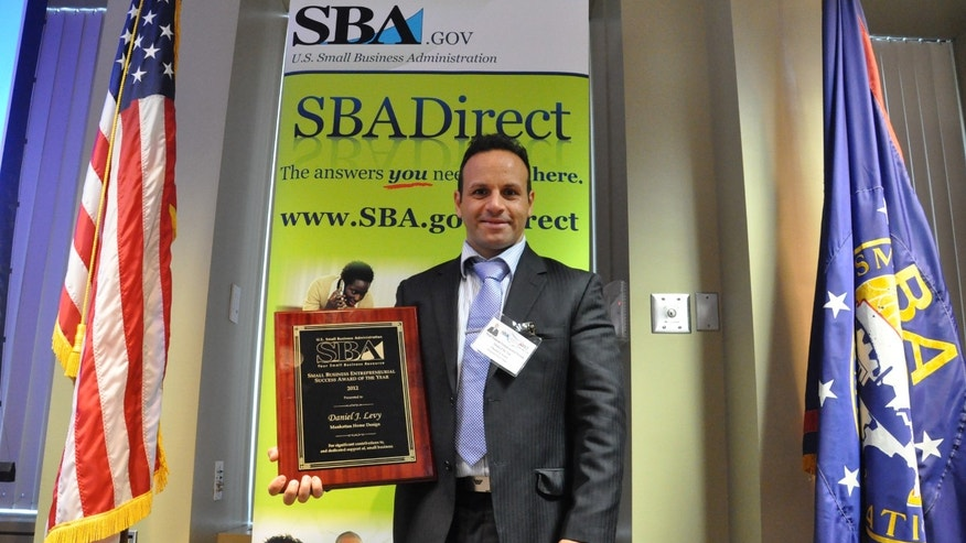 Argentinean entrepreneur Daniel Levy, founder of online furniture retail business Manhattan Home Design, wins the U.S. Small Business Administration entrepreneurial success award -New York District office.