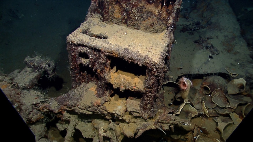 In this photo provided by NOAA Okeanos Explorer Program, a well preserved shipwreck is seen about 200 miles off the coast of La., at a depth around 4,000 feet, in the  Gulf of Mexico, Friday, April 26, 2012. This photo shows the ship's cast-iron stove.  (AP Photo/NOAA Okeanos Explorer Program)
