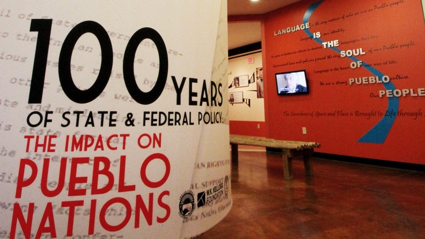 "This March 9, 2012 photo shows the entrance to the exhibition ""100 Years of State and Federal Policy: The Impact on Pueblo Nations"" at the Indian Pueblo Cultural Center in Albuquerque, N.M. The exhibition runs through February 2013. (AP Photo/Susan Montoya Bryan)"