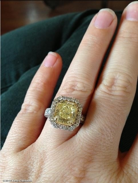 kelly clarkson and other stars with yellow engagement rings - Yellow Diamond Wedding Rings