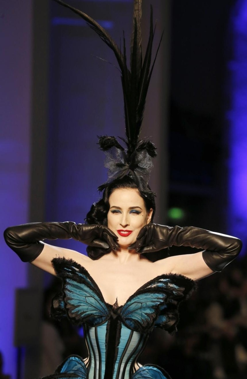 dita von teese stuns in jean paul gaultier lingerie fox news. Black Bedroom Furniture Sets. Home Design Ideas