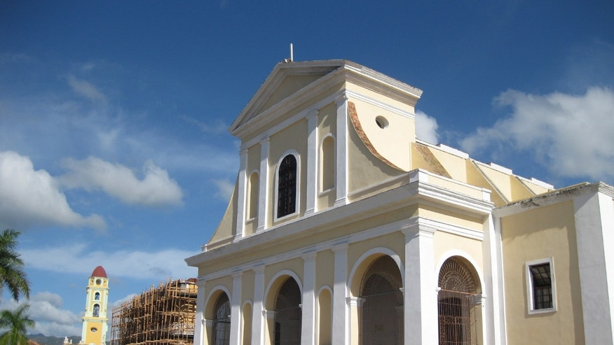 The Church of the Holy Trinity sits at the center of the Plaza Mayor in Trinidad, Cuba. (Photo courtesy of Harold Goodman)