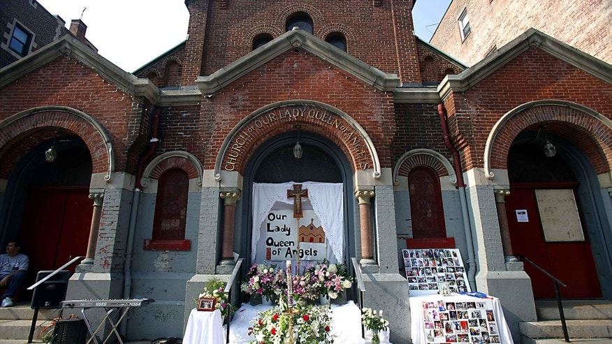 UNITED STATES - AUGUST 30:  PLACE where a funeral for Carmen Gonzalez was held in front of the closed Our Lady Queen of Angels Church August 30, 2007 at 232 East 113th Street in Harlem. Gonzalez fought the closing of the parish but lost to the Archdiocese of New York. The Archdiocese also would not budge when asked to open the church temporarily for the funeral for Carmen Gonzalez, a long-time parishioner, church activist and community leader.  (Photo by Robert Sabo/NY Daily News Archive via Getty Images)