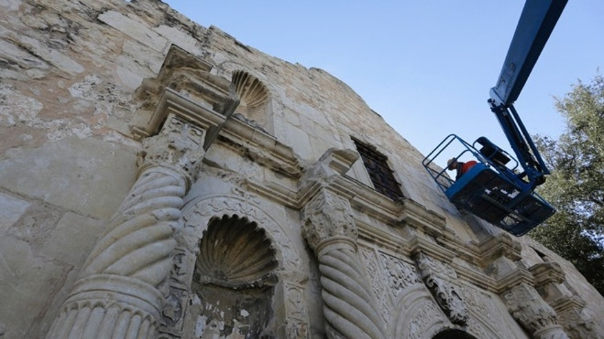 Master stone mason Miroslav Maler uses materials as close to the originals as possible to make repairs to the Alamo, Wednesday, Oct. 28, 2015, in San Antonio. The Alamo is undergoing $5 million in emergency repairs, part of a sweeping, state Legislature-approved $31.5 million makeover that may be one of the site's most-ambitious since the days of Davy Crockett. (AP Photo/Eric Gay)