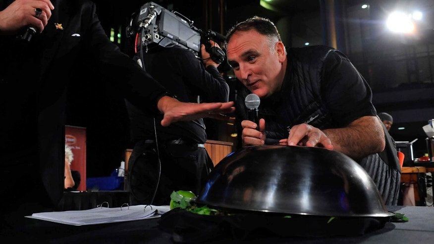 WASHINGTON, DC - NOVEMBER 12: Chef Jose Andres speaks on stage at DC Central Kitchen's Capital Food Fight at the Ronald Reagan Building on November 12, 2015 in Washington, DC.  (Photo by Larry French/Getty Images for DC Central Kitchen's Capital Food Fight)
