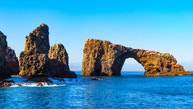 Photo of Arch Rock a natural bridge and arch rock formation at Anacapa Island, part of the Channel Islands National Park near Los Angeles in California, USA.