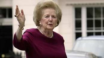 Former British Prime Minister Baroness Margaret Thatcher arrives home on March 8, 2008 after spending the night in St Thomas' hospital in central London undergoing tests after falling ill.