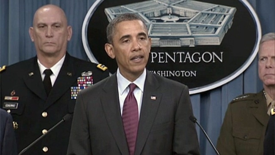 Jan. 5, 2011: President Obama announces cuts to the growth in the defense budget in a rare appearance by a president at the Pentagon briefing room.