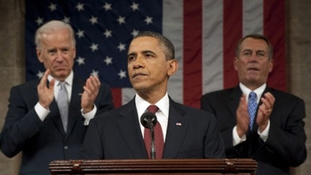 President Barack Obama delivers his State of the Union address on Capitol Hill in Washington, Tuesday, Jan. 24, 2012, as Vice President Joe Biden and House Speaker John Boehner, right, applaud. (AP Photo/Saul Loeb, Pool)