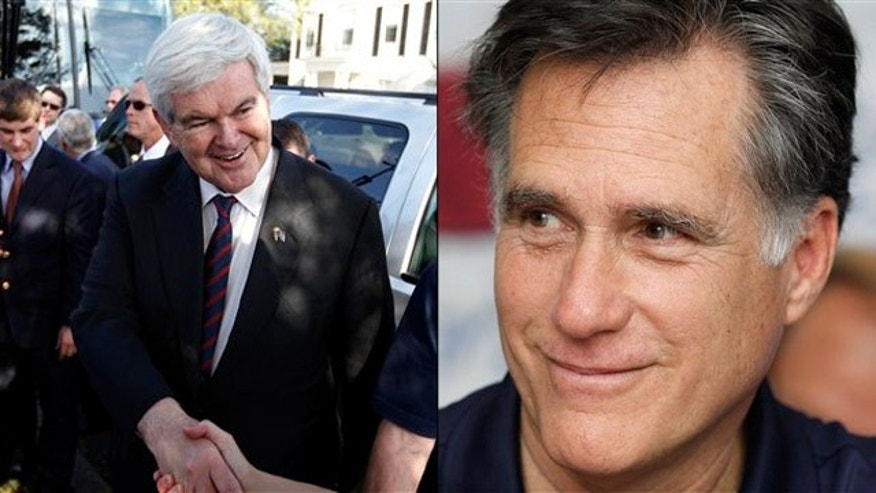 Jan. 31, 2012: Newt Gingrich, left, and Mitt Romney campaign in Florida on primary day.