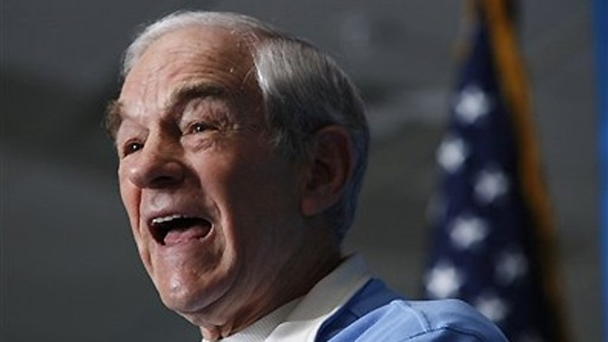 Jan. 28, 2012: Republican presidential candidate, Rep. Ron Paul, R-Texas, speaks during a campaign stop at the University of Southern Maine in Gorham, Maine.