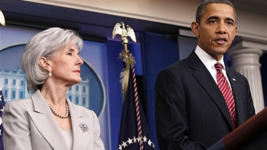 Feb. 10, 2012: President Obama, accompanied by Health and Human Services Secretary Kathleen Sebelius, speaks at the White House.