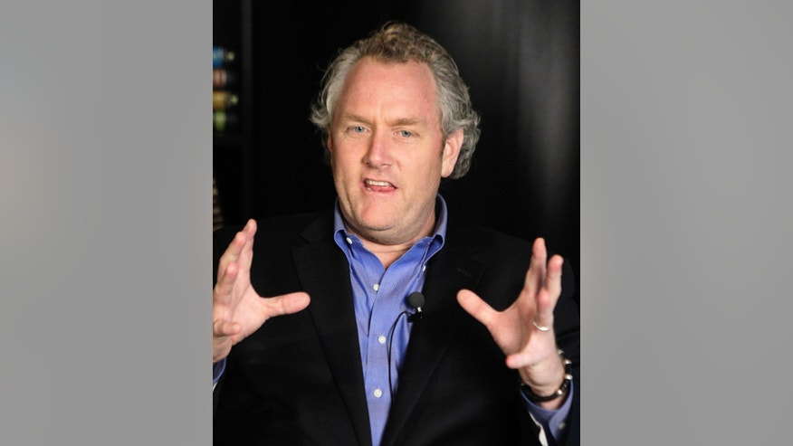 FILE - In a Tuesday, June 7, 2011 file photo, conservative blogger Andrew Breitbart, who runs BigGovernement.com and BigJournalism.com, gestures as he speaks during an interview at the Associated Press' headquarters in New York. Breitbart, who was behind investigations that led to the resignations of former Rep. Anthony Weiner and former Agriculture Department official Shirley Sherrod, died Thursday, March 1, 2012 in Los Angeles. He was 43.  (AP Photo/Kathy Willens, File)