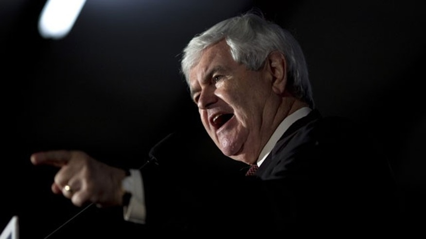 Feb. 17, 2012: Republican presidential candidate, former House Speaker Newt Gingrich speaks during a campaign stop in Peachtree City, Ga.