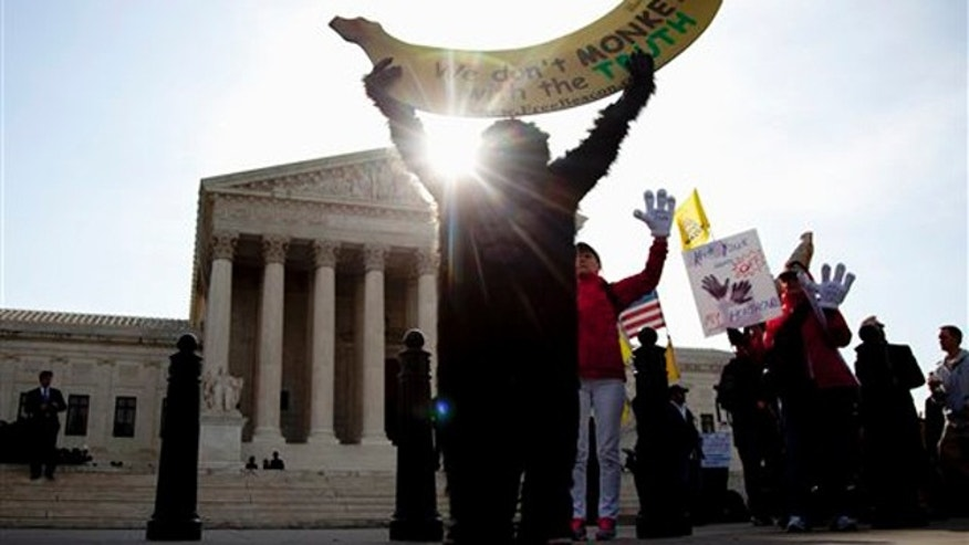 March 28, 2012: Protesters gather in front of the Supreme Court in Washington as the court concludes arguments in the federal health care law case.