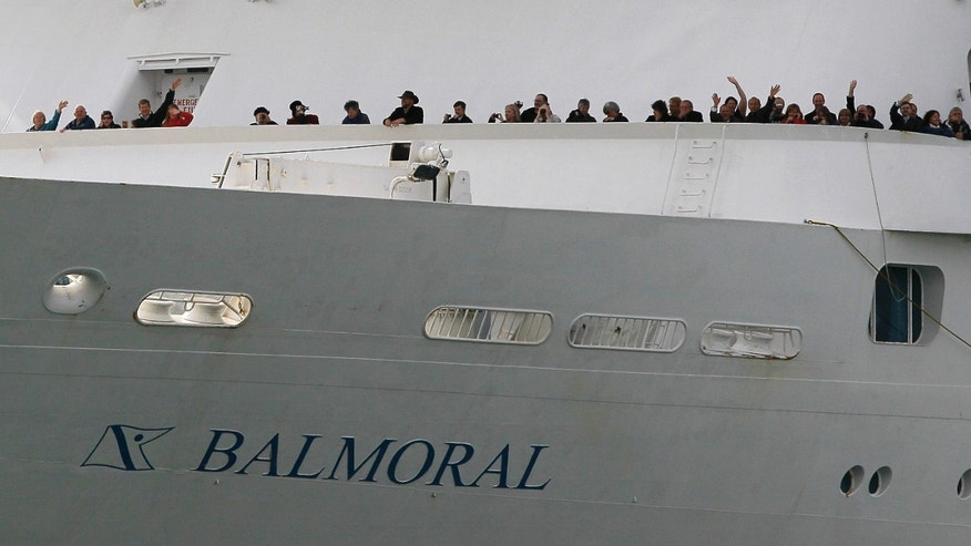 April 8, 2012: The MS Balmoral sets sail for the Titanic memorial cruise from Southampton, England, Sunday. Nearly 100 years after the Titanic went down, a cruise with the same number of passengers aboard is setting sail to retrace the ship's voyage, including a visit to the location where it sank.