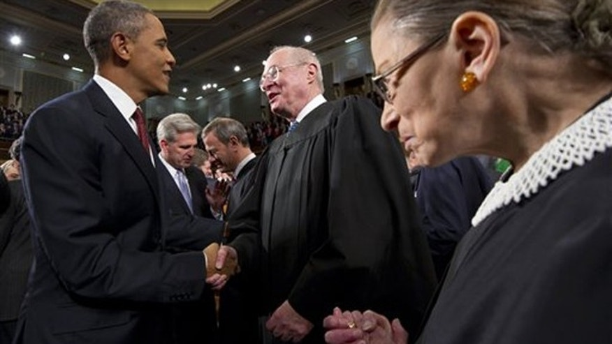 Jan. 24, 2012: President Obama greets Supreme Court Justice Anthony Kennedy and Ruth Bader Ginsburg, right, prior to his State of the Union address in Washington.
