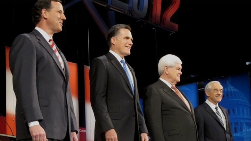 Jan. 23, 2012: Rick Santorum, Mitt Romney, Newt Gingrich and Ron Paul take the stage in Florida for the latest Republican presidential debate.