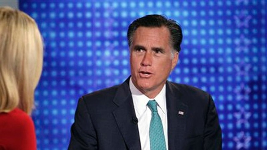 "April 1: Republican presidential candidate, former Massachusetts Gov. Mitt Romney is interviewed by Martha MacCallum, co-anchor of ""America's Newsroom"" on the Fox News Channel."