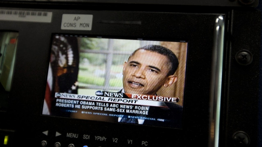 May 9: President Obama is seen on a monitor in the White House briefing room in Washington. The president told an ABC interviewer that he supports gay marriage.