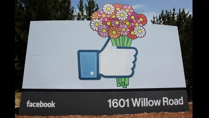 May 13, 2012: Flowers were added to a Facebook sign in front of Facebook headquarters in Menlo Park, Calif., Sunday, in honor of Mother's Day.