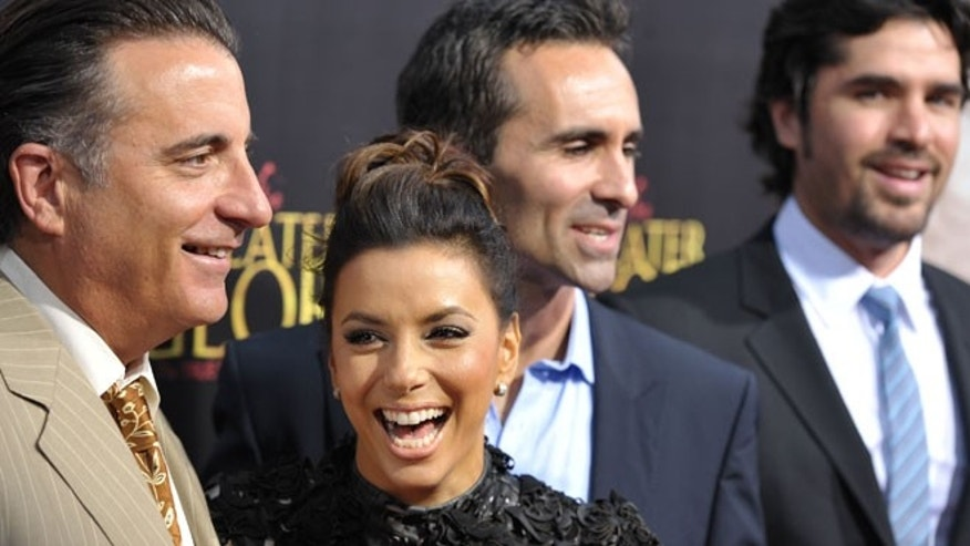 """May 31: Andy Garcia, Eva Longoria, Nestor Carbonell, and Eduardo Verastegui attend the premiere of """"For Greater Glory"""" in Beverly Hills, Calif."""