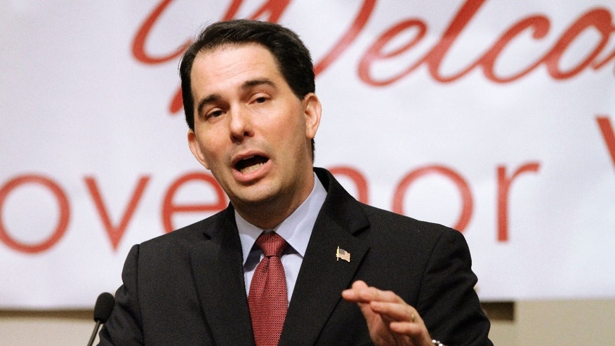 April 17: Wisconsin Gov. Scott Walker speaks to the Illinois Chamber of Commerce in Springfield, Ill.