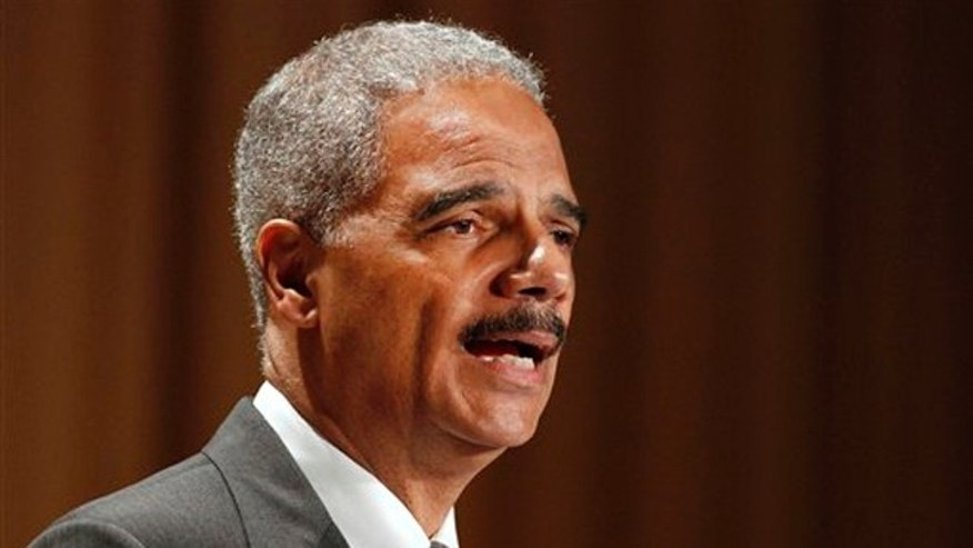 FILE: June 11, 2012: Attorney General Eric Holder speaks at the League of Women Voters National Convention in Washington.