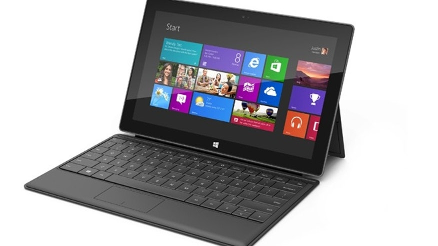 "A fold-out keyboard clevelry integrated into the Surface's case -- combined with a ""kickstand"" in the back of the tablet -- turns this tablet into a full laptop."