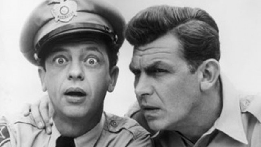 "Don Knotts and Andy Griffith in ""The Andy Griffith Show."""