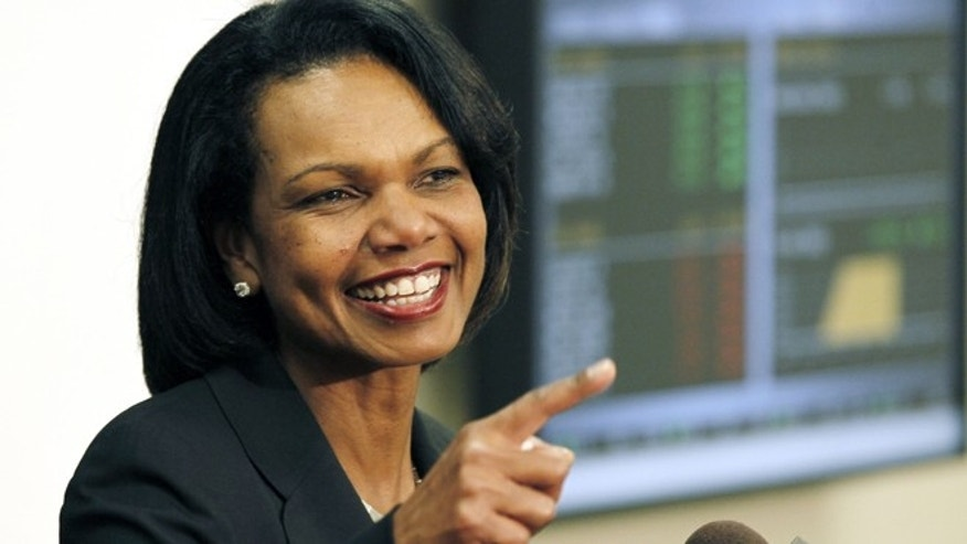 April 17, 2012: Former Secretary of State Condoleezza Rice answers questions from reporters about the issues she discussed with business students during a private presentation to them at Mississippi College in Clinton, Miss.
