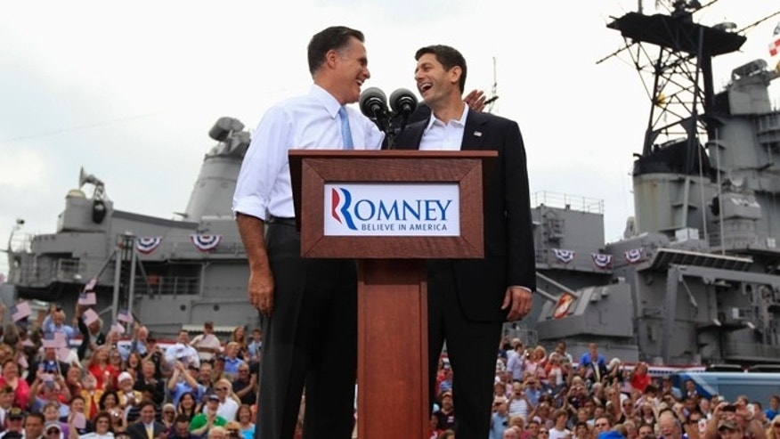 Aug. 11, 2012: Mitt Romney joins Rep. Paul Ryan as he announces the Wisconsin congressman as his running mate in Norfolk, Va.