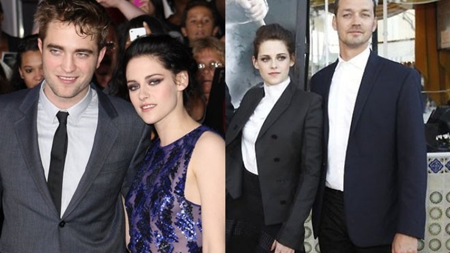 "Kristen Stewart cheated on her boyfriend Robert Pattinson, seen with her at left, with her ""Snow White and the Huntsman"" director Rupert Sanders, right."