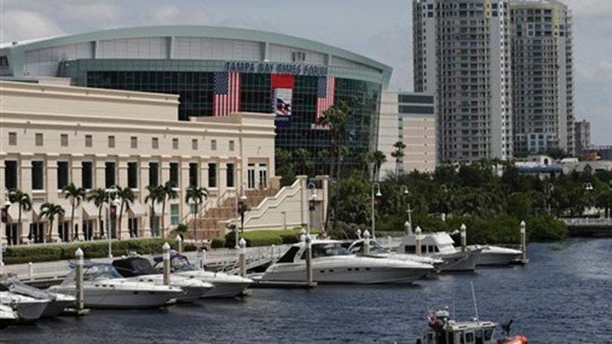 Aug. 25, 2012. : A Coast Guard vessel patrols outside the Tampa Bay Times Forum site of the Republican National Convention in Tampa, Fla.