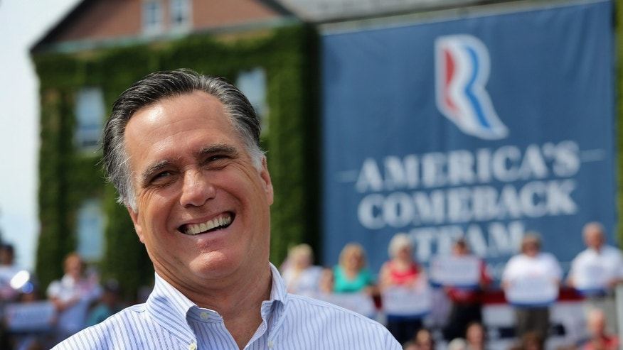 MANCHESTER, NH - AUGUST 20:  Republican presidential candidate, former Massachusetts Gov. Mitt Romney laughs at a campaign event at Saint Anselm College on August 20, 2012 in Manchester, New Hampshire. Romney and and his vice presidential candidate U.S. Rep. Paul Ryan (R-WI), held the town hall-style event just two days after President Barack Obama made campaign stops in New Hampshire.  (Photo by John Moore/Getty Images)