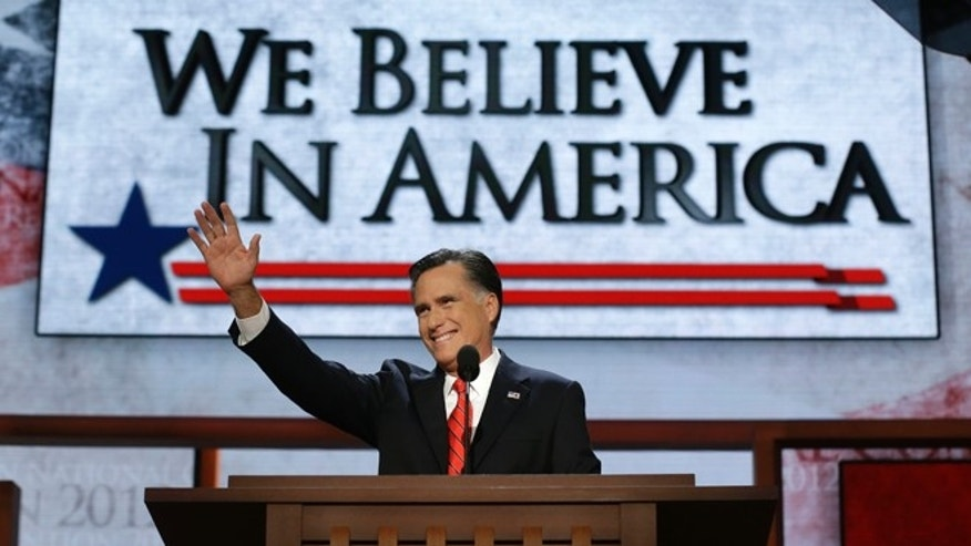 Aug. 30, 2012: Republican presidential nominee Mitt Romney acknowledges delegates before speaking at the Republican National Convention in Tampa, Fla.