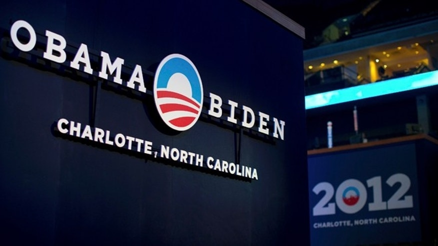 Aug. 31, 2012: A sign for the campaign of U.S. President Barack Obama is seen during an open house for the public to view the venue for the Democratic National Convention at Time Warner Cable arena in Charlotte, North Carolina.