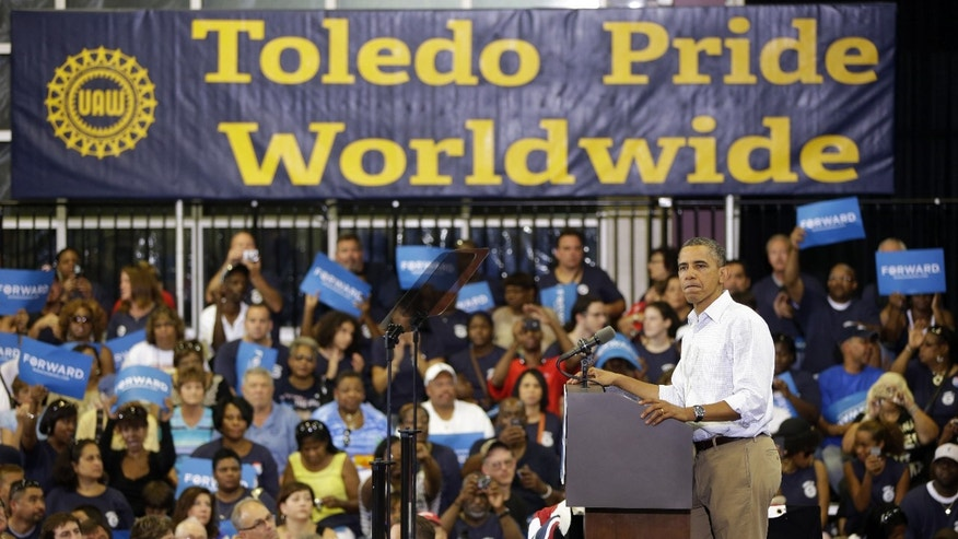 Monday, Sept. 3, 2012: President Barack Obama speaks during a campaign event at Scott High School, n Toledo, Ohio.