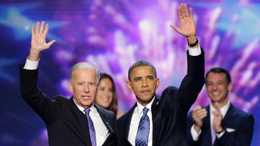 Sept. 6, 2012: Vice President Joe Biden and President Barack Obama wave to the delegates at the conclusion of Presdident Obama's speech at the Democratic National Convention in Charlotte, N.C.