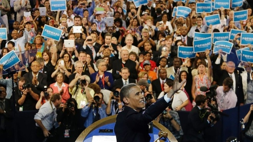 Sept. 6, 2012: President Barack Obama waves to delegates at the Democratic National Convention in Charlotte, N.C.
